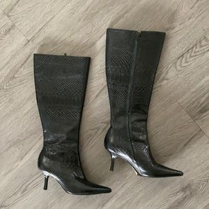 Snake Skin Leather Boots